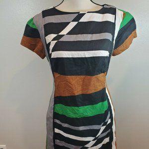 DEREK LAM Size 8 Dress Striped Linen